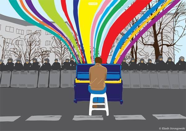 The protest piano image that has since become a t-shirt and gone viral.