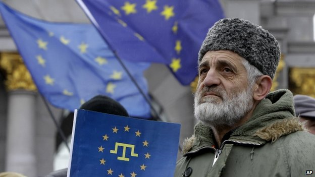 Many Crimean Tatars stood alongside Ukrainian protesters in Kiev's Independence Square.