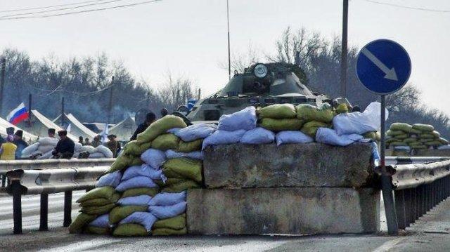 Block post in Armyansk, north Crimea