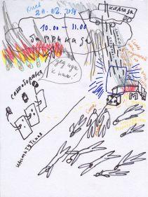 Artist Alevtina Kakhidze with Alexander Tonskyh's history drawing.