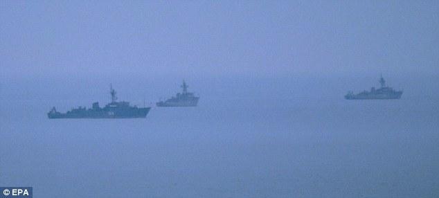 Russian Navy vessels off the coast of Sevastopol