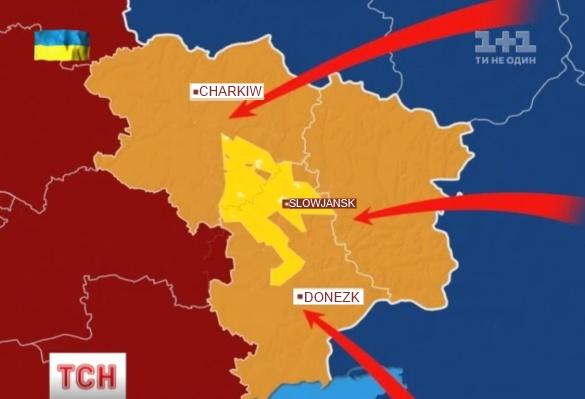 """Die Gesamtfläche der Schiefergas-Lagerstätte """"Jusiwka"""" in der Ostukraine beträgt fast 800 000 ha. Quelle: tsn.ua"""