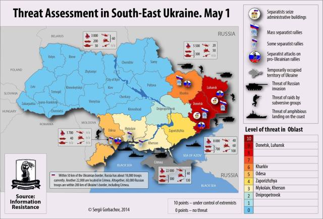 Map Source: Information Resist (IR), Map Graphics: Sergii Gorbachov for IR; Map Translation from Russian: EuromaidanPR