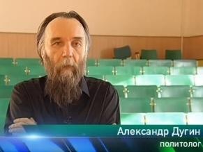Der russische Eurasianismus-Ideologe Alexander Dugin im russischen Fernsehsender NTW