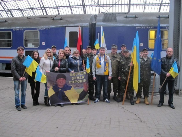Friends and family met Ivan Filipovych at the train station in Lviv.  Photo by Ihor Melnyk.