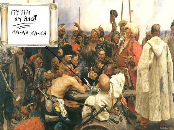 over Ilia Repin's The Zaporizhian Kozaks Write A Letter to the Turkish Sultan (1880-91)