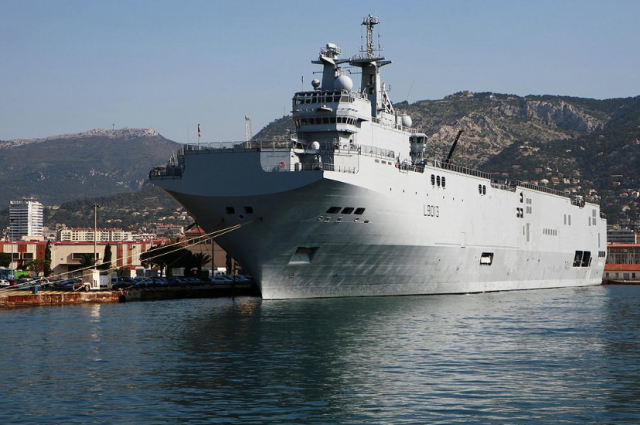 French command and protection ship Mistral