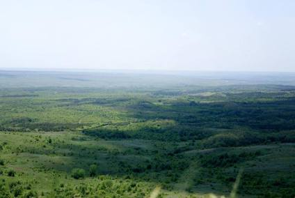 The infinite Donetsk steppe taken from the freed heights of Hora Savur Mohyla.