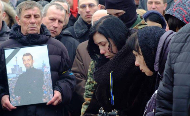 Alexander Scherbatyuk, 46, was shot by police snipers on Thursday, February 20, 2014 as he and fellow Afghanistan War veterans led the protest's bloody struggle against Berkut government riot police on Maidan. http://www.eurojewcong.org/20/10807-ukrainian-jews-mourn-shot-maidan-protester.html
