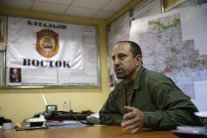 Rebel commander Alexander Khodakovsky of the so-called Vostok battalion - or eastern battalion - speaks during an interview in Donetsk, July 8, 2014. REUTERS/Maxim Zmeyev. Source: http://www.reuters.com/article/2014/07/23/us-ukraine-crisis-commander-exclusive-idUSKBN0FS1V920140723