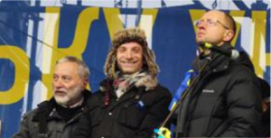 Josef Zissels, Vitaly Portnikov and Arseniy Yatsenyuk on Maidan