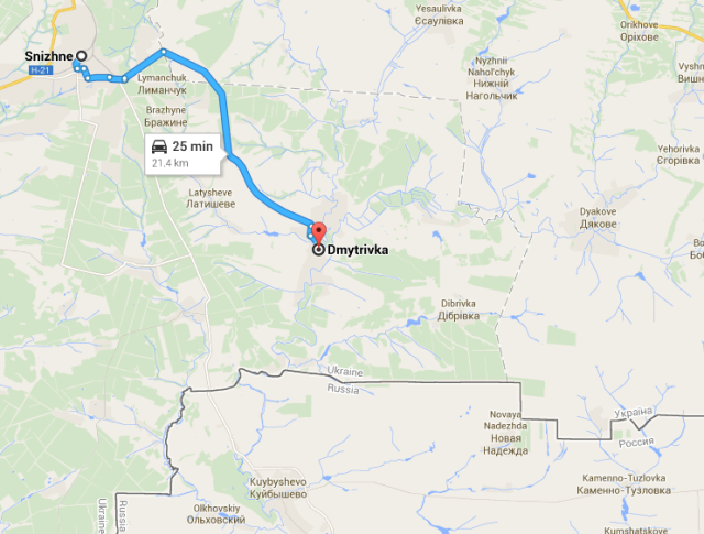 Route from Snizhne to Dmytrivka via Google Maps. Pay attention how close the Russian border is.