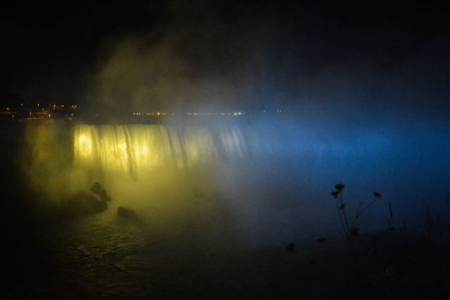 And the lights on Niagara Falls are turned yellow and blue in honor of Ukrainian Independence Day