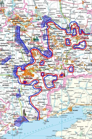 """Die """"sieben Ziele, die die russischen Kräfte sehr wahrscheinlich angreifen werden"""" – auf einer Karte der Ostukraine eingezeichnet. - Foto: Topwa.ru"""