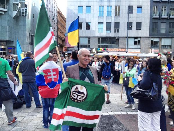 Chechens in Vienna celebrating Ukrainian Independence Day