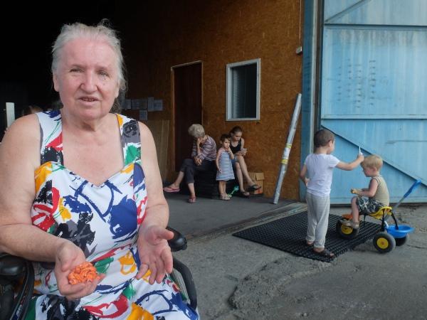 Anna Petrivna, 70, a refugee from Luhansk