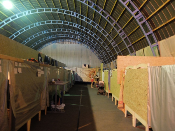 The hangar used as a sleeping area