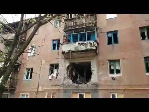 Shelled apartment building in Kirov, Ukraine