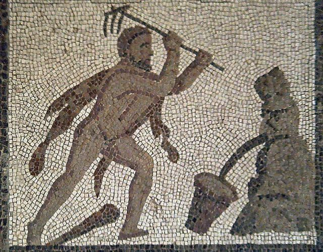 Mosaic of Hercules cleaning out the Augean stables.