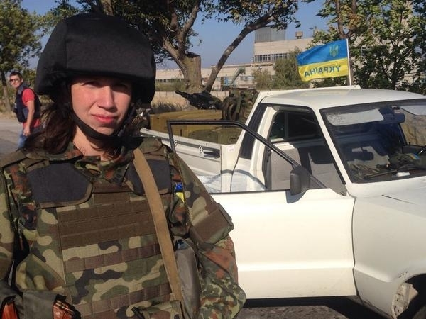 Tatiana Chornovol. Journalist Tetyana Chornovol together with Azov Battalion is defending Mariupol from invasion by Russian troops. Photo: twitter.com/BojanowskiW