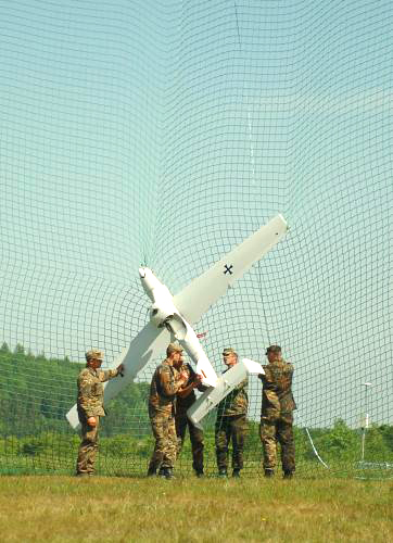 Bundeswehr soldiers retrieve the the German UAV - Luna.