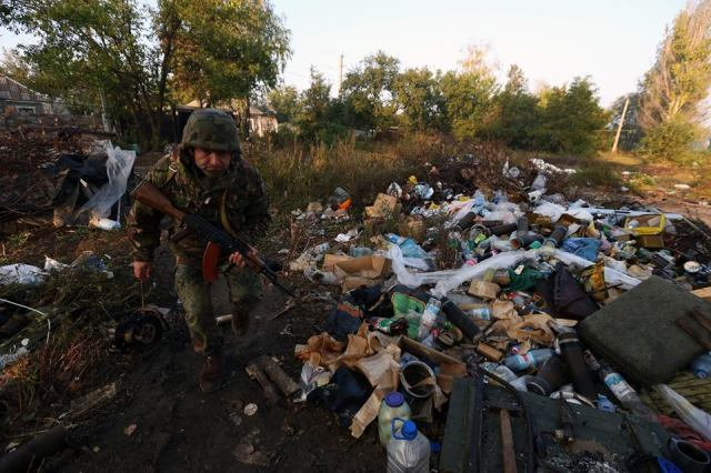 Donbas landscape during battle, today. Photo: Sergei Loiko, Los Angeles Times