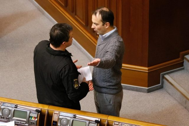 Semyonchuk (on left) in Parliament