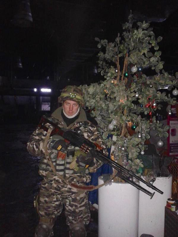 Ukrainian Cyborg at the Donetsk airport with Christmas tree