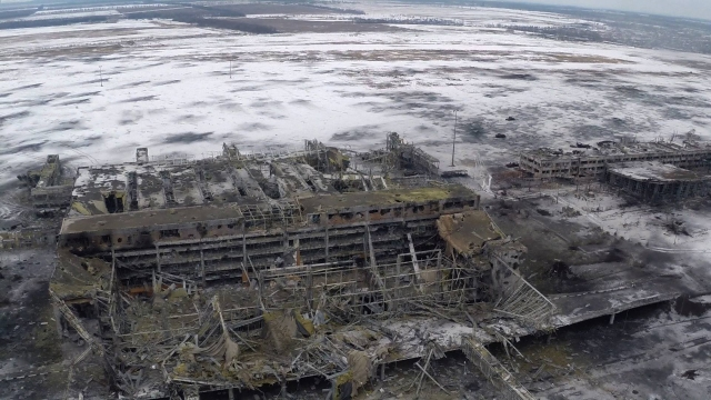 Donetsk airport shot from drone plane