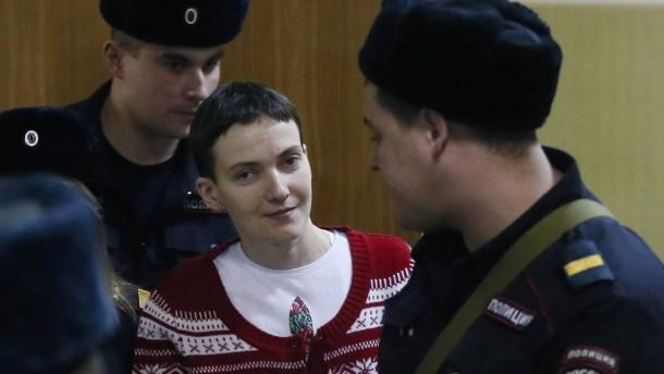 Nadiya Savchenko at February 10, 2015 Basmanny Court appearance in Moscow, on her 60th day of hunger strike.