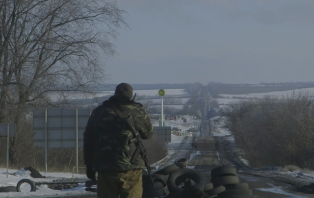 Debaltseve checkpoint. Screenshot from Vice News video, Dispatch 90
