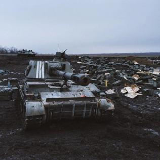 Empty boxes from shells give an overall picture of the area near Debaltseve, Feb 16. Photo Max Avdeev