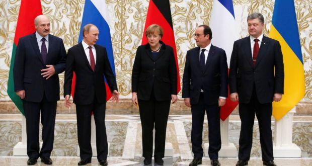 Lukashenko, Putin, Merkel, Hollande, Poroshenko