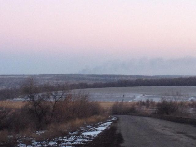 Column of smoke near Debaltseve. Photo: Roland Oliphant