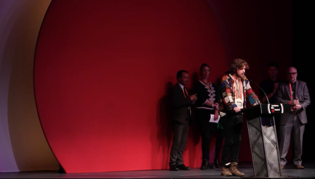 Fedor Alexandrovich on stage acceptance speech at Sundance Film Festival 2015