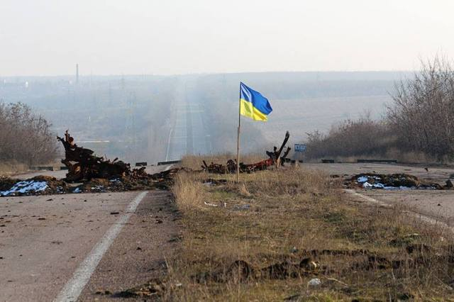 Ukraine's Ministry of Defense shared this photo yesterday (February 15, 2015) of the last checkpoint before Russian-held territory.