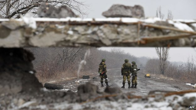 Separatist forces near Debalteve. Photo by AFP.