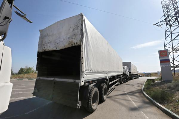 "The 17th Russian ""humanitarian convoy"" heading toward East Ukraine today with 160 vehicles strong. Neither Ukraine or international monitors able to verify the vehicles' contents. SOURCE"