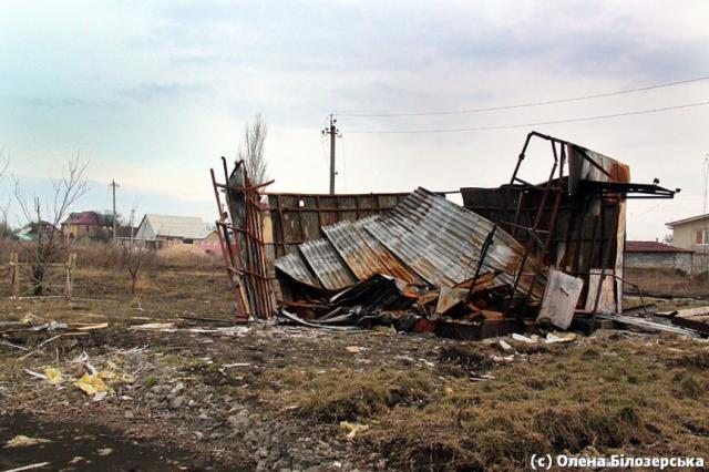 A destroyed village shop in Vodyane (settlement near Donetsk). Image: Olena Bilozerska Fb