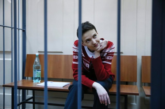 Ukrainian air force pilot and member of Ukrainian Parliament Nadiya Savchenko sits in a cage in the court room at the Basmanny District Court in Moscow, Russia, March 4, 2015. The court hears Savchenko's appeal against investigator's refusal to let her attend a session of the Parliamentary Assembly of the Council of Europe (PACE) in Strasbourg. EPA/YURI KOCHETKOV