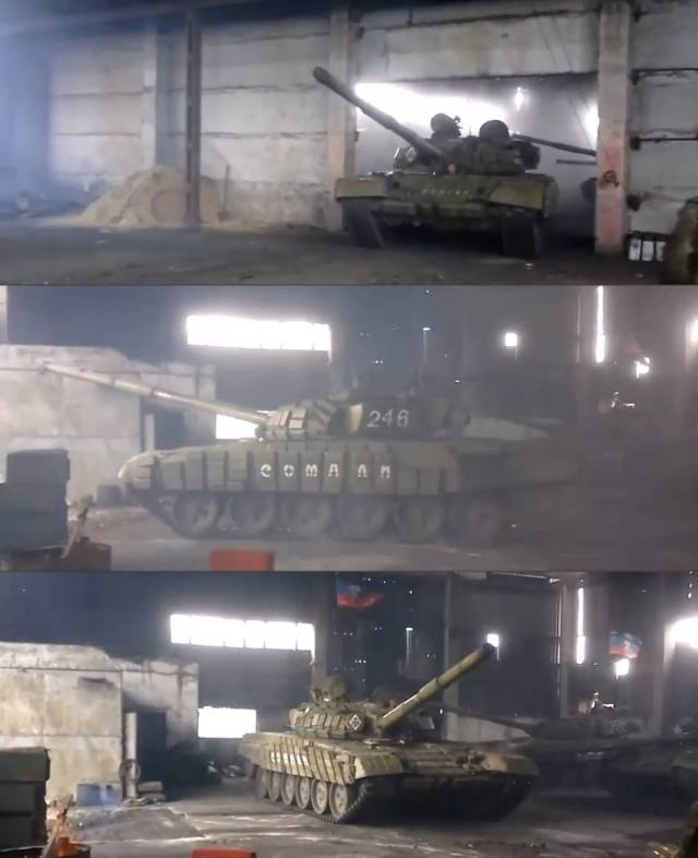 "Tanks, possibly, T-80, inside a hangar of the pro-Russian ""Somali"" gang."