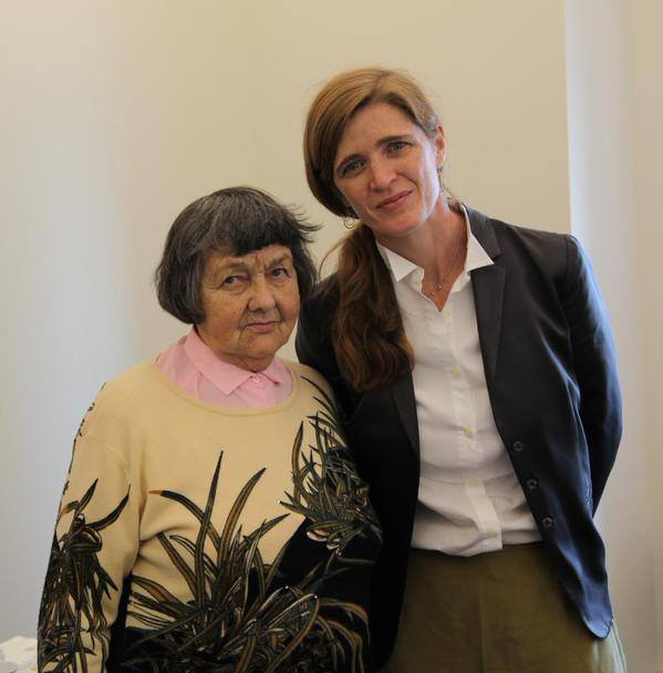 Nadiya's mother Maria with Samantha Power, April 22, 2015. Source.