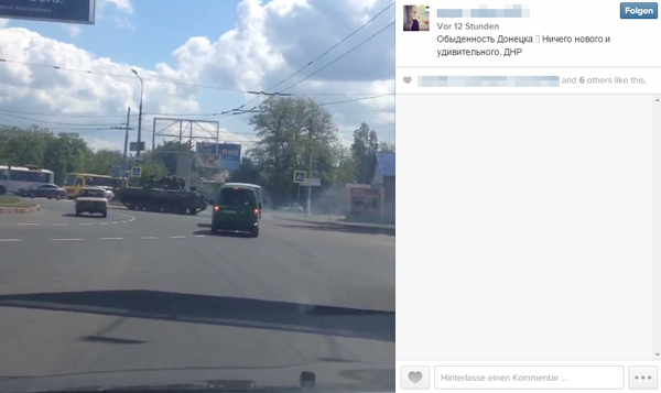 "Russian army on the move in Donetsk today. ""The commonness of Donetsk. Nothing new or awesome. DNR."" Source."