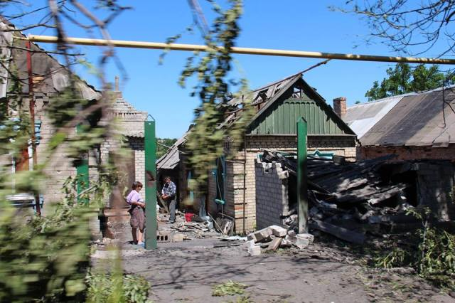 Mar'inka after shelling, June 4, 2015