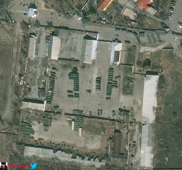 Insurgent base in Luhansk was empty a short time ago, now jam packed with kit and ammo. See earlier. Source.