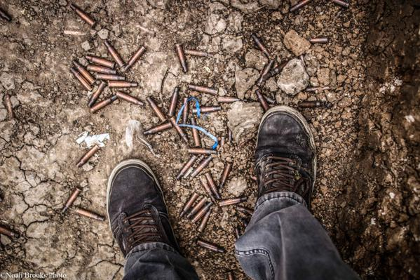 Bullet casings on front line in Shyrokyne. Photo: Noah Brooks.