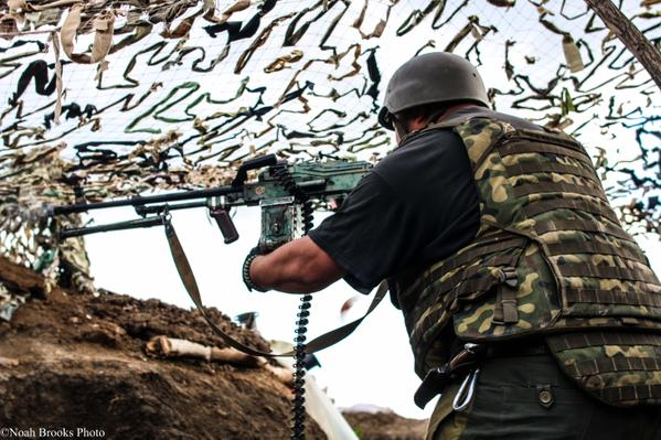 Ukrainian soldier defending Shyrokyne. Photography by Noah Brooks