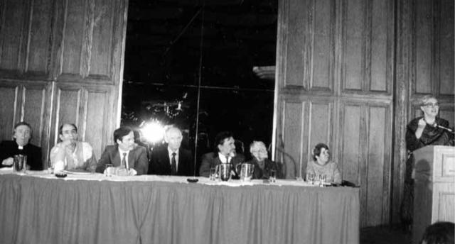 Human Rights Commission Conference on Human Rights, Toronto, 1983. Left to right: Rev Vasyl Romaniuk, Leonid Plyushch, Petro Ruban, Danylo Shumuk, Mykola Rudenko, Oksana Meshko, Nina Strokata-Karavanska, Christina Isajiw.
