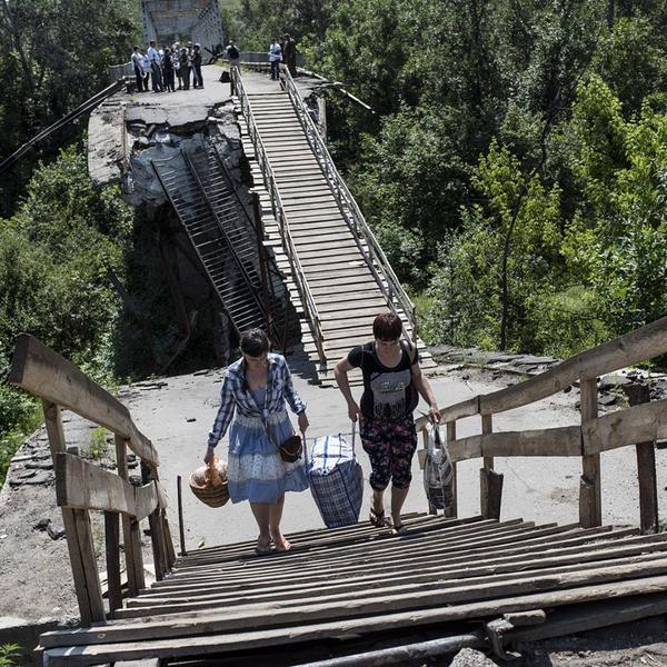 The bridge at Stanytsia Luhanske, June 6. Source.