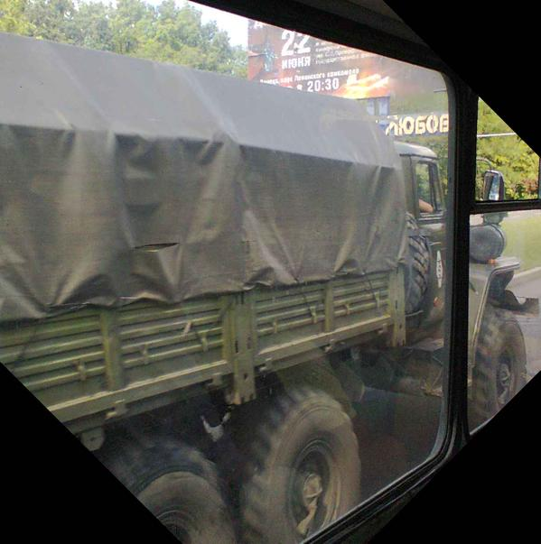 Military trucks on the move back and forth today in Donetsk, Ukraine.